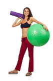 Woman exercising with ball isolated Royalty Free Stock Image