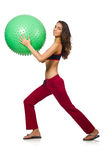 Woman exercising with ball isolated Stock Image