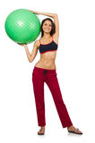 Woman exercising with ball isolated Royalty Free Stock Images