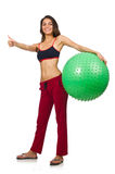 Woman exercising with ball isolated Stock Images