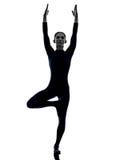 Woman exercising bhujangasana cobra pose yoga silhouette Royalty Free Stock Image