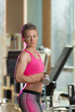 Woman Exercising Biceps With Dumbbells Royalty Free Stock Image
