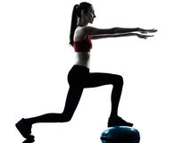 Woman exercising bosu balance ball trainer silhouette Royalty Free Stock Photography