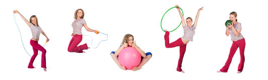 Woman exercising collage Stock Image
