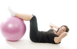 Woman exercising core training fitness ball. Woman female exercising with core training fitness ball sit up position Stock Illustration
