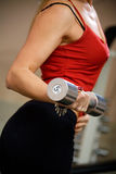 Woman exercising with dumbbell Royalty Free Stock Photography