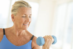 Woman Exercising With Dumbbell At Home Stock Photography