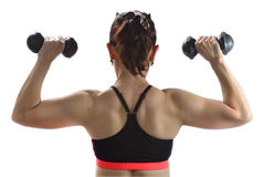 Woman exercising with dumbbells Royalty Free Stock Photography