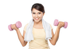 Woman exercising with dumbbells Stock Images