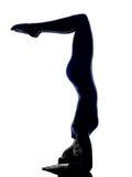 Woman exercising Eka Pada Viparita Dandasana pose yoga silhouett Royalty Free Stock Image