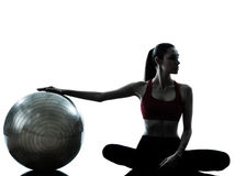 Woman exercising fitness ball Stock Photos