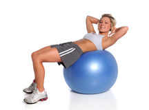 Woman Exercising On Fitness Ball Royalty Free Stock Photos