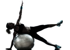 Woman exercising fitness ball workout Royalty Free Stock Image