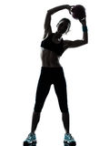 Woman exercising fitness ball workout  workout Royalty Free Stock Images