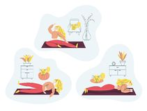 Girl exercising Fitness at Home. Sport Healthy lifestyle concept set with Fit Woman Doing Pilates, Yoga, Training. Isolated flat stock illustration