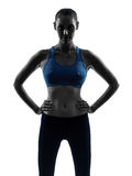Woman exercising fitness portrait silhouette royalty free stock photo