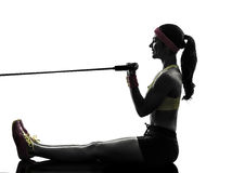 Woman exercising fitness workout resistance bands Stock Image