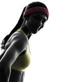 Woman exercising fitness workout  silhouette smiling portrait Stock Image