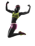Woman exercising fitness workout training silhouet Royalty Free Stock Images