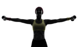 Woman exercising fitness workout weight training Stock Photo