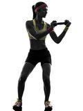 Woman exercising fitness workout weight training silhouette Stock Image