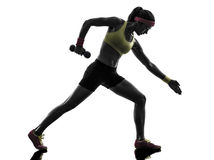 Woman exercising fitness workout weight training silhouette Royalty Free Stock Photography