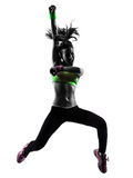 Woman Exercising Fitness Zumba Dancing Jumping Silhouette Stock Photos