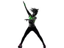Woman exercising fitness zumba dancing silhouette Stock Photos