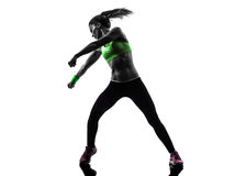 Woman exercising fitness zumba dancing silhouette Royalty Free Stock Photography