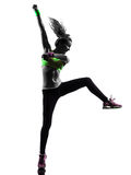 Woman exercising fitness zumba dancing silhouette Stock Photography