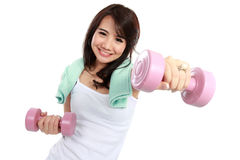 Woman exercising with free-weights Stock Photos