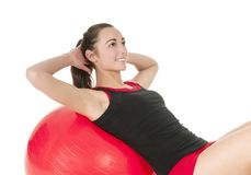 Woman exercising with gym ball Royalty Free Stock Photo
