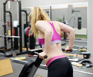 Woman exercising in gym. Young blond woman exercising in gym Royalty Free Stock Photos
