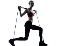 Woman exercising gymstick Stock Photo