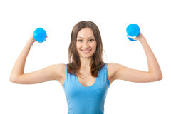 Woman exercising, isolated Stock Photos