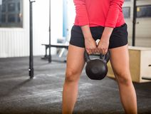 Woman Exercising With Kettlebell In Gym Royalty Free Stock Photo