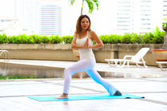 Woman is exercising in the morning. Yoga woman Royalty Free Stock Photography