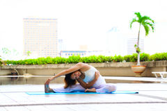 Woman is exercising in the morning. Yoga woman Stock Images