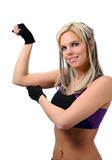 Woman exercising muscles Stock Images