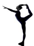 Woman exercising Natarajasana dancer pose yoga silhouette Royalty Free Stock Images
