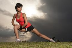 Woman Exercising Outdoor royalty free stock photo