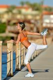 Woman exercising outdoor in summer Royalty Free Stock Photo