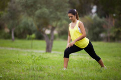 Woman exercising in outdoor Royalty Free Stock Photo