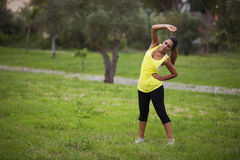 Woman exercising in outdoor Royalty Free Stock Image