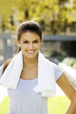 Woman exercising outdoors Royalty Free Stock Image