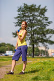 Woman exercising outdoors Royalty Free Stock Photography