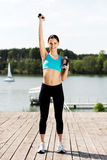 Woman exercising outdoors Royalty Free Stock Photos