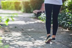 Woman exercising in the park royalty free stock photography