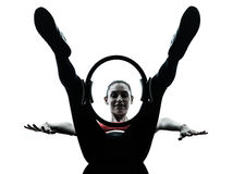 Woman exercising pilates ring Royalty Free Stock Photos