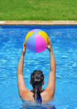 Woman exercising in the pool Stock Images